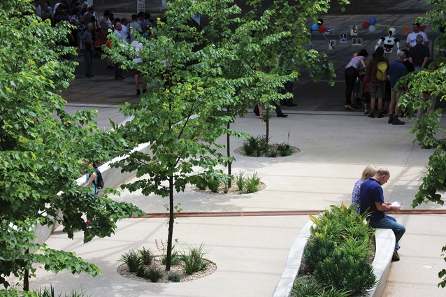 Mature trees within the central plaza provide leafy shade, serving as a space for meetings and refreshments, adjacent to a cafe.
