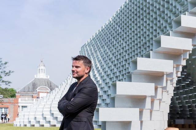 Architect Bjarke Ingels in front of the Serpentine Pavilion 2016 designed by Danish studio Bjarke Ingels Group (BIG).