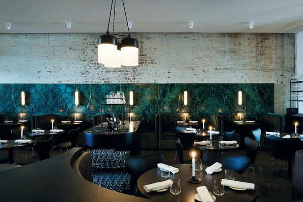 Cutler & Co.'s eastern wall in the main dining room is clad to half-height in beautifully marbled green Pilbara stone panels.