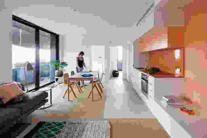 Apartments include built-in wardrobes, cabinets and kitchen counters.