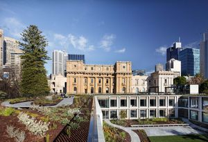 Parliament of Victoria Members' Annexe by Peter Elliott Architecture and Urban Design, winner of the Allan and Beth Coldicutt Award for Sustainable Architecture at the 2019 Victorian Architecture Awards.