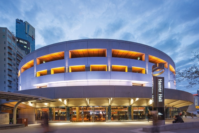 By night, the new Hamer Hall offers a festive, welcoming transparency.