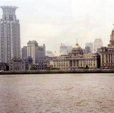 Looking across the Huangpu river to the Bund from the Pudong New Area. Photographs John Gollings.