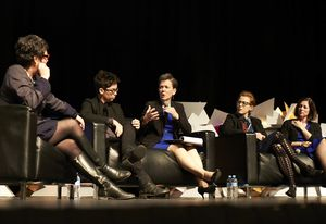Parlour panel at 2014 National Architecture conference, L–R: Justine Clark, Naomi Stead, Helene Combs Dreiling (president of American Institute of Architects), Emma Williamson, and Beth Miller (Community Design Collaborative).