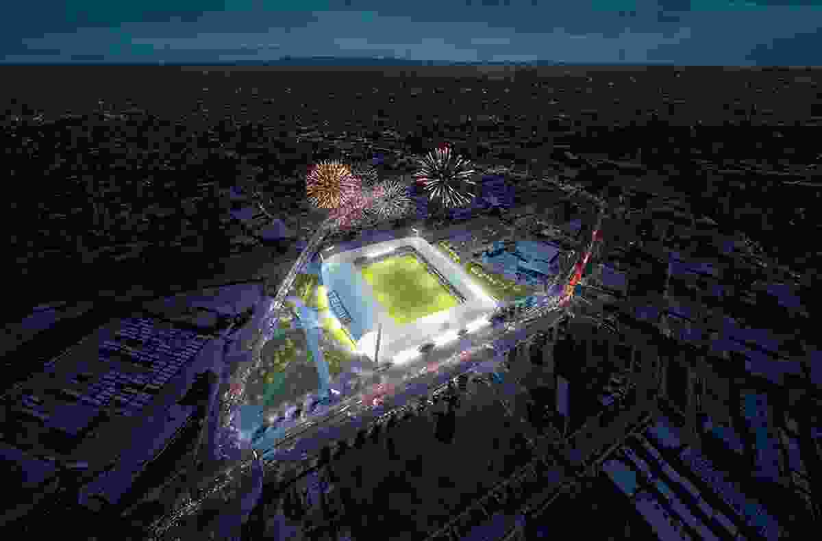 Concept of the proposed Dandenong Stadium by Cox Architecture.