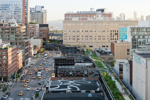 The Highline is an elevated linear park occupying a disused freight railway line in Lower Manhattan.