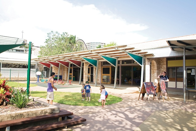 St Mary's Catholic Primary New Hall and Library, Reggio Emelia Early Learning Centre and Courtyard School by Troppo Architects.