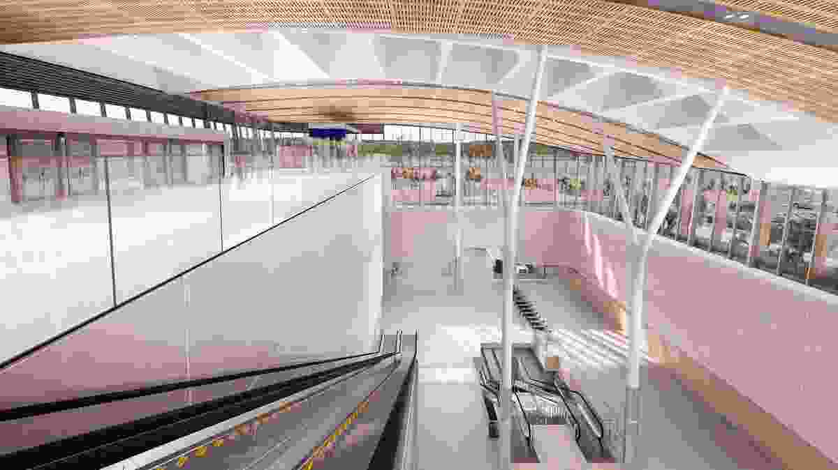 """The """"striking"""" interior of Airport Central station. The entry level is to the left, the concourse level containing ticketing machines and other facilities on the right."""