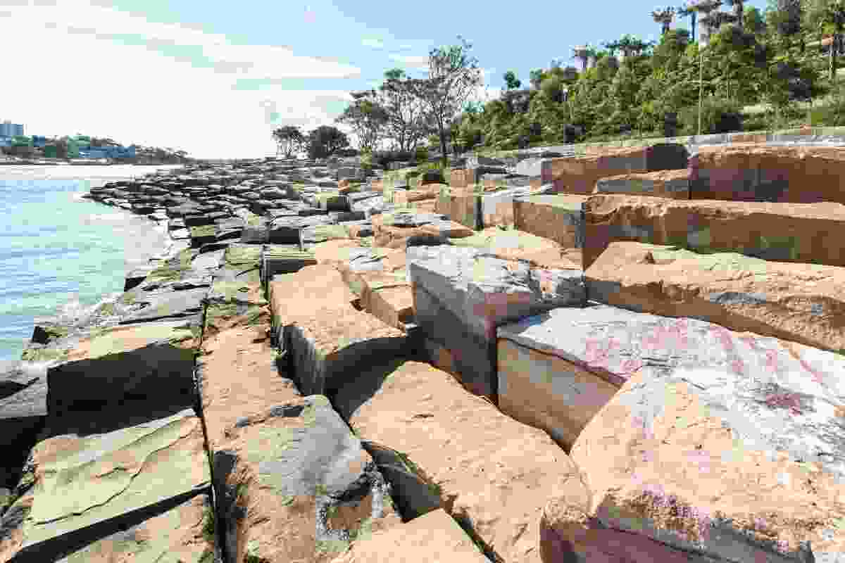 Blocks of sandstone attempt to create a naturalistic foreshore environment.
