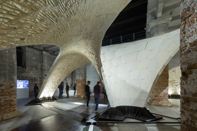 Beyond Bending was a collaborative project between the Block Research Group at ETH Zurich with engineers Ochsendorf DeJong and Block, and The Escobedo Group, featuring four three-dimensional vaulted floor prototypes.