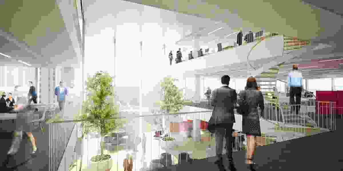 Proposed interior of office atrium space.