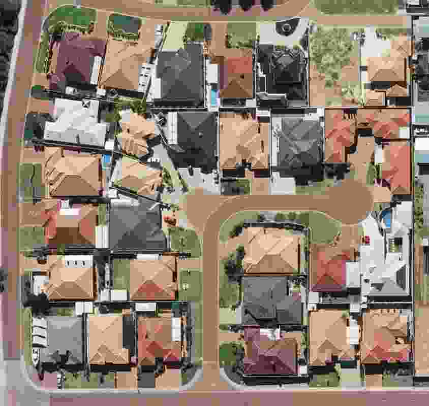 Spearwood, Perth, Western Australia – aerial view of a housing scheme from the early 2000s. Note the large sizes of the houses.
