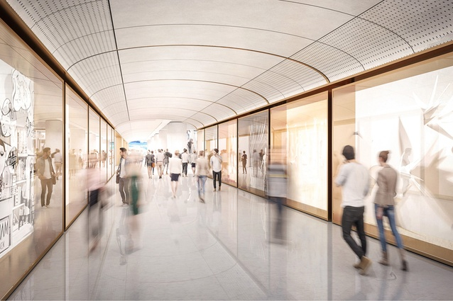A proposed underground concourse in the Martin Place metro station development designed by Grimshaw Architects, Johnson Pilton Walker and Tzannes.