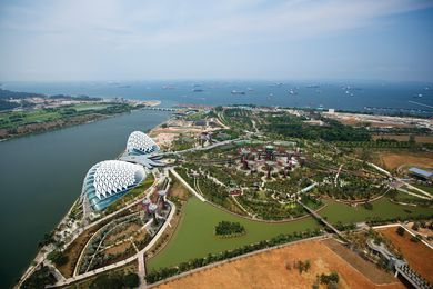 Gardens by the Bay, designed by Grant Associates and Wilkinson Eyre Architects, is sited on reclaimed land in central Singapore.