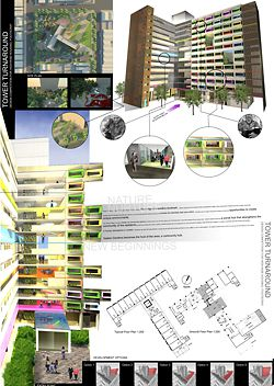 """Shortlisted entry by Bligh Voller Nield. This proposal develops the idea of the """"vertical village"""" with """"breakout social spaces""""."""