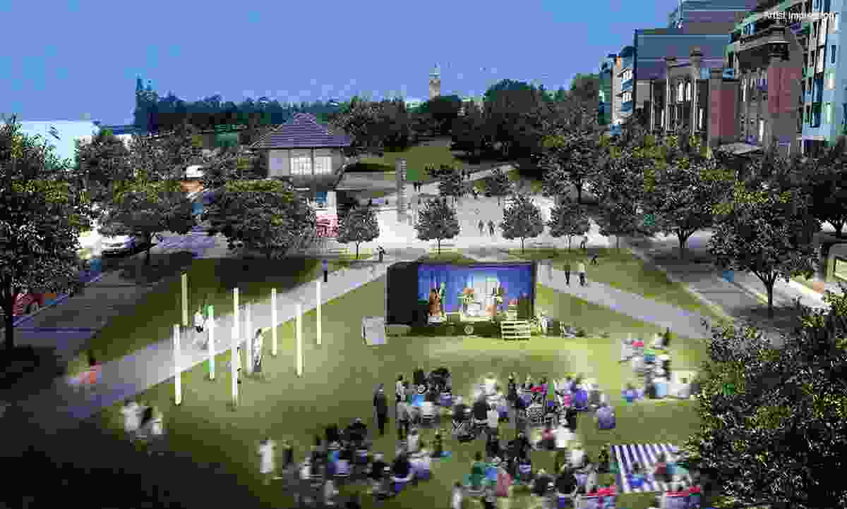 Proposed park at Market Street for community gatherings and events in the plan to revitalize Newcastle.