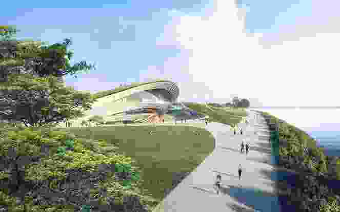 A view from the promenade of the winning proposal for Singapore Founders Memorial by Kengo Kuma and Associates and K2LD Architects.