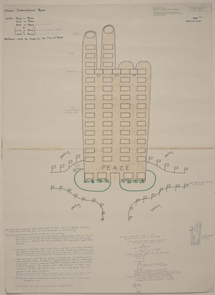 "Entry in the 1978 Melbourne Landmark Ideas Competition: a tower for ""International Peace."""