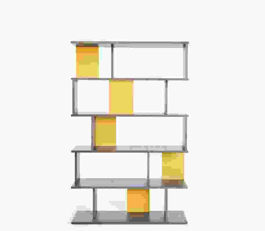 NOMI Pegboard by Tomek Archer in 5-tier format with custom yellow panels.