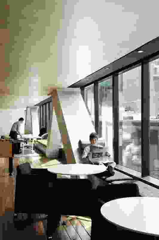"The ""verandah"" serves as a casual break-out space."