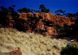 "The dramatic landscape surrounding Lark Quarry, known as ""Jump-Up country"". Image: Lin Martin"