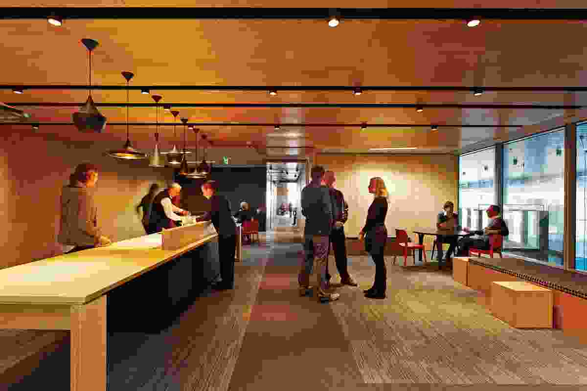 Office spaces continue the internal street theme; some feature outdoor areas that provide ventilation.