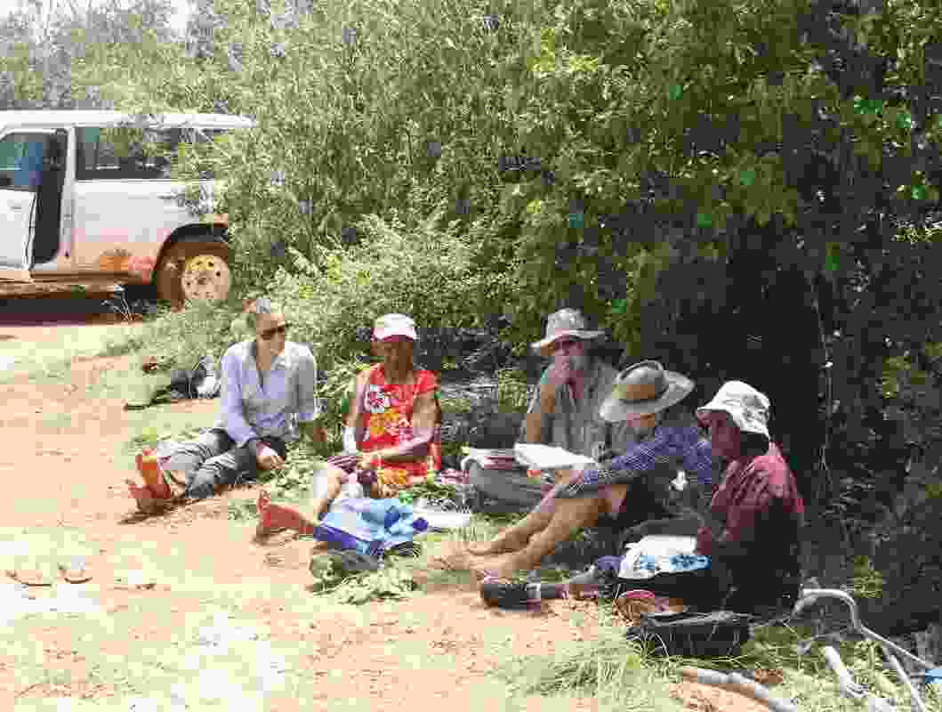 Vanessa Margetts (far left). Field survey reviewing Yawuru habitats and seasons.