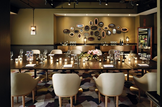 The private dining room is warm and eclectic.