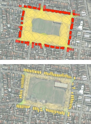Based on the model of the English square, these diagrams illustrate the opportunity to increase the density of an established park, currently ringed by 100 individual houses, to hold between 850 and 1000 apartments. Based on a six-storey scale, every apartment could benefit from a park outlook.