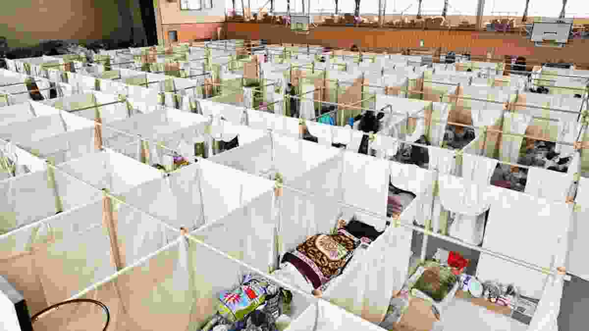 From Shigeru Ban's disaster relief project for the Japanese earthquake and tsunami: Paper Partition System 4 for evacuation facilities at Otsuchi High School (April 20th 2011).