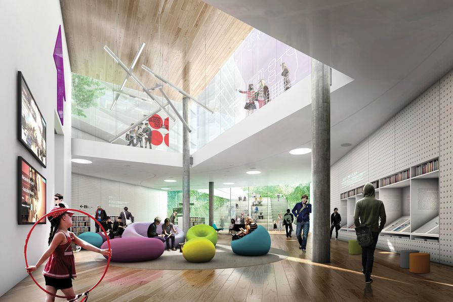 Green Square Library and Plaza by Stewart Hollenstein and Colin Stewart Architects.