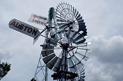 Russell Hall's Windmills on Show at SQIT's Toowoomba campus, built on the old showground site. Photograph Euan Kok.