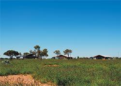 Looking towards the small cluster of buildings forming the Tjuntjuntjara community.