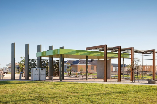 Slick, tall shelters add a contemporary character to the estate.