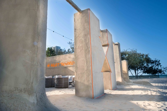 The sand hostel, designed by Jon Dowding.