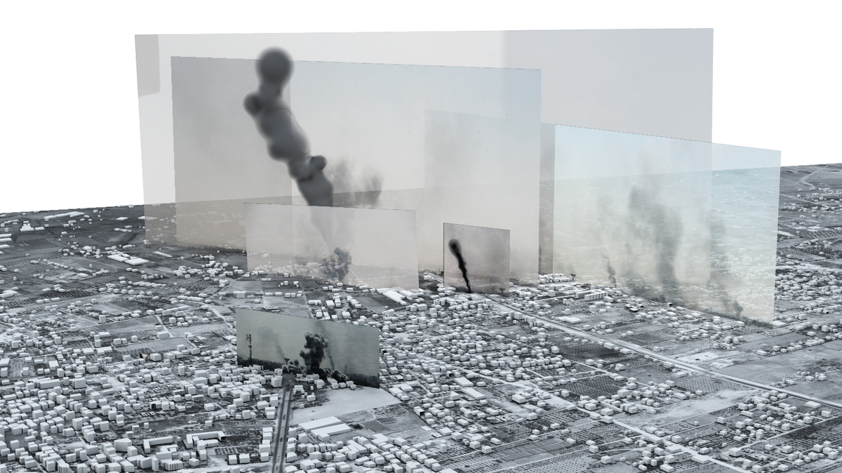 "Forensic Architecture used 3D Modelling to reconstruct the 2014 ""Black Friday"" battle in Gaza, in which many Palestinian civilians were killed by Israeli shelling."