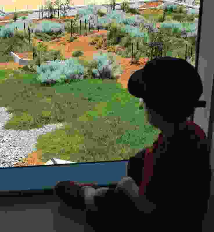 View from the children's ward onto the landscaped roofscape.