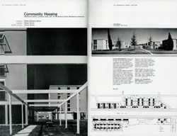 The 1960s saw a focus on 'objective criticism'. Dramatically photographed buildings were written about in a straightforward manner which emphasized the competence and professionalism of the architect. Ancher Mortlock and Woolley's Community Housing, Architecture in Australia, March 1965.