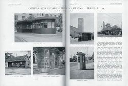 """The first in Morton Herman's """"Comparison of Architectural Solutions"""", which drew on his travels to compare building types from Europe and Australia. Architecture, July 1937."""