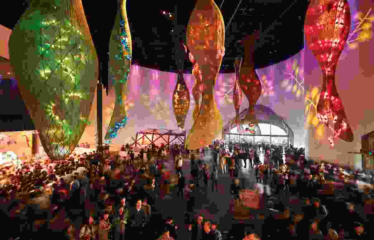 Act three, Enjoy, features large illuminated seed pods that hang from the ceiling.