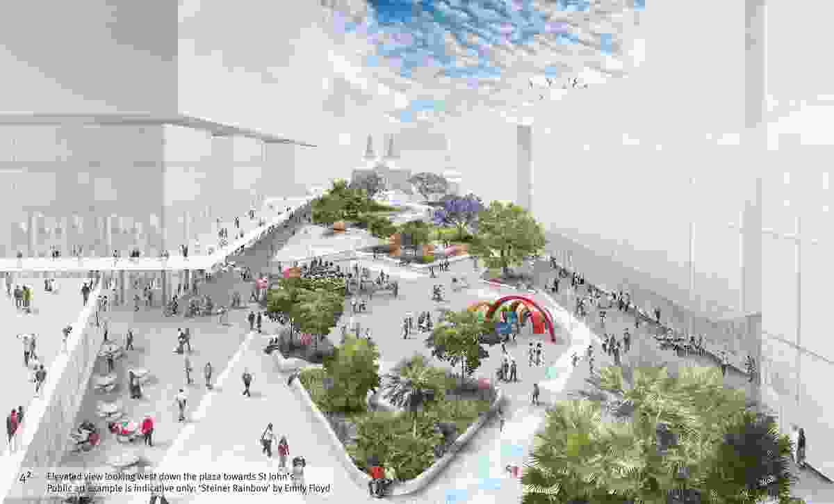 Parramatta Square draft concept design by JMD Design, Taylor Cullity Lethlean, Tonkin Zulaikha Greer, and Gehl Architects.