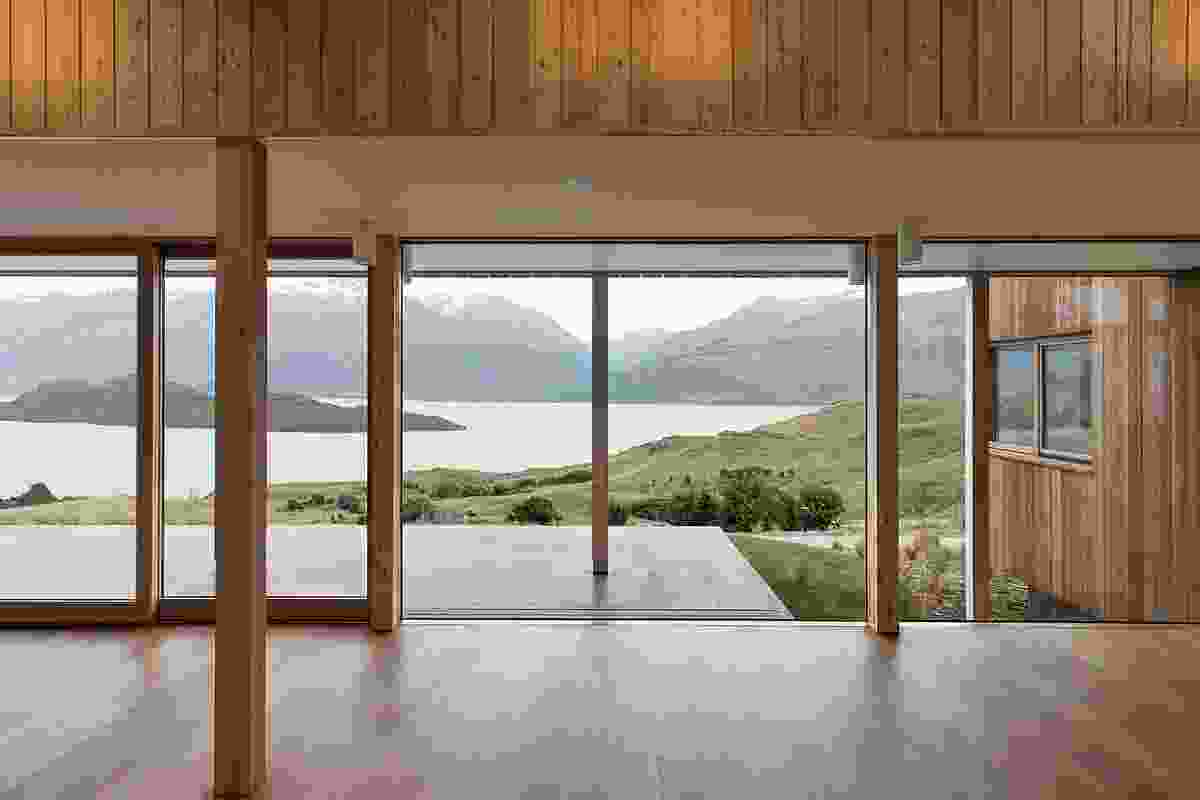 Expansive lake vistas are framed in the community building, centered on the body of the water at the end of Lake Wakatipu where Pig and Pigeon Island lie.