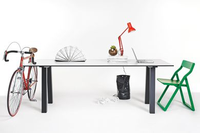 The versatile and modular Dove dining table from Nomi was designed to be used in the office or the home.