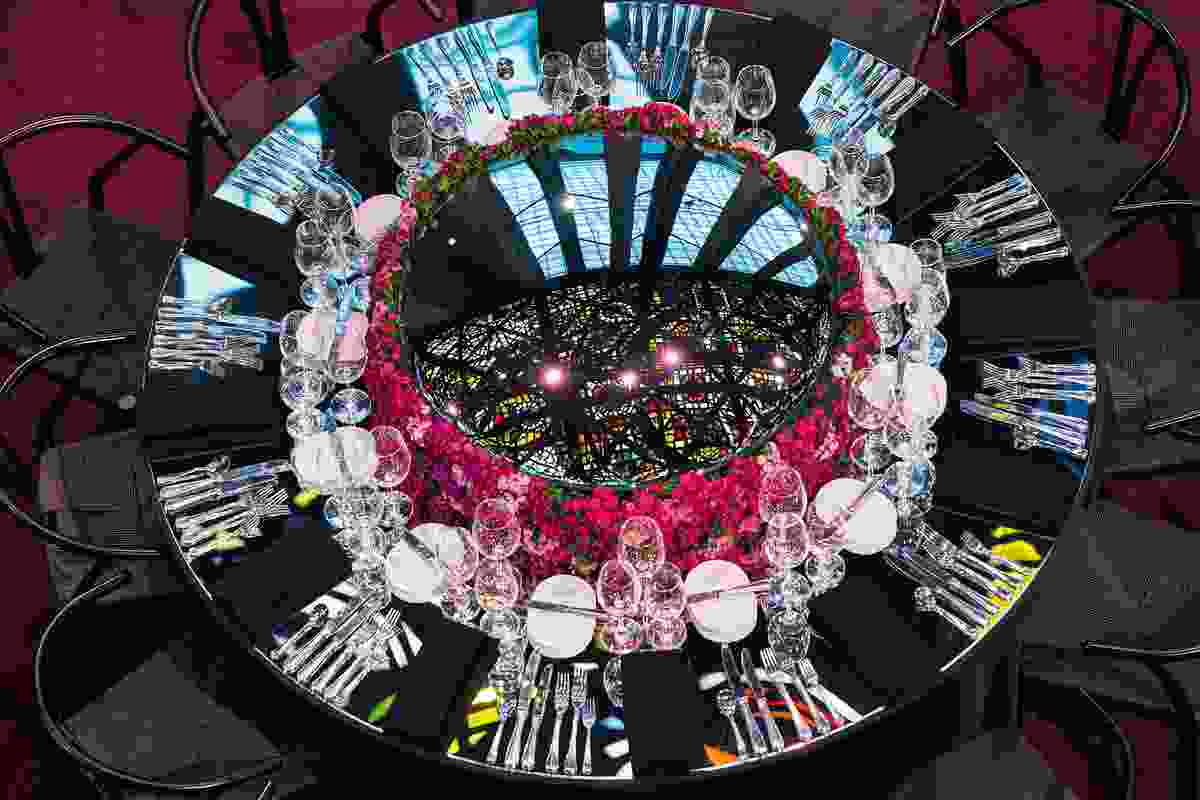 Russell & George's table was based on reflections and featured a large convex mirror centrepiece.