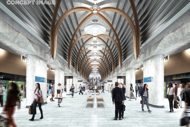The design for Town Hall station by Hassell, Weston Williamson and Rogers Stirk Harbour and Partners.