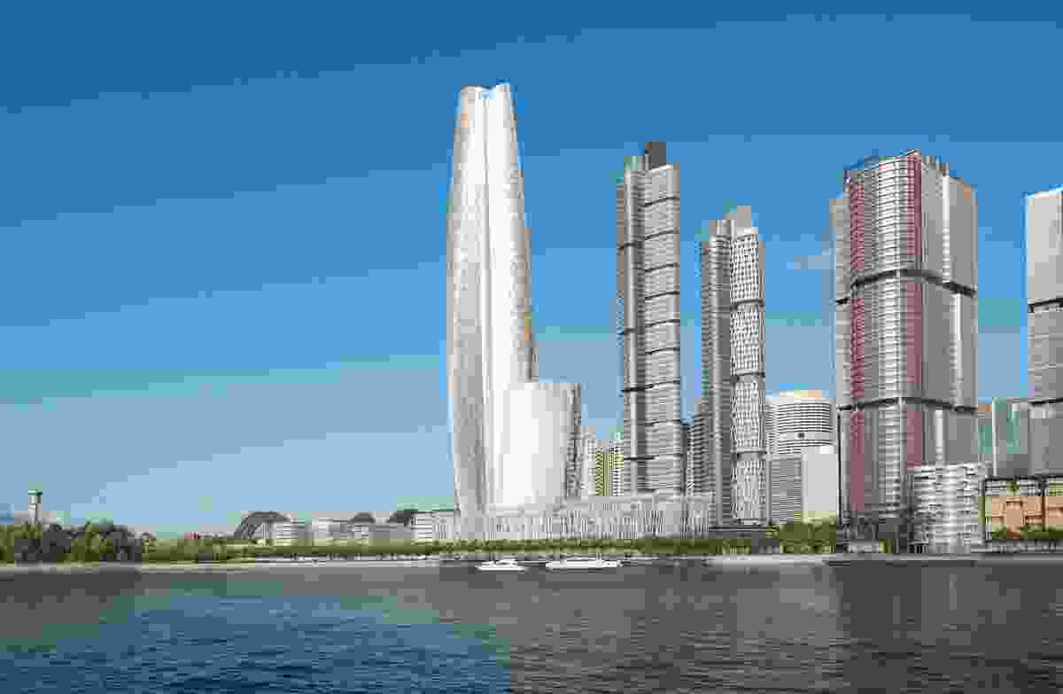 The proposed Crown Resorts tower by Wilkinson Eyre Architects will be clad in silvery glass.