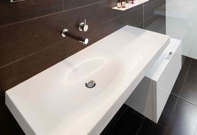 Minosa's Hung Lift cabinet and Double ScoopED washbasin.