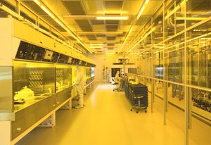 Nanofabrication clean room at the Engineering Science Building, University of California Santa Barbara.