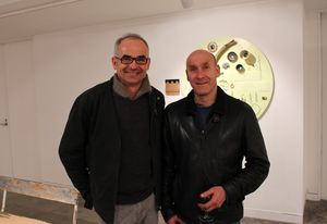 Richard Whiteley (left) with Robert Foster at the exhibition opening of Crafting Waste and Aesthetics in the Time of Emergency.