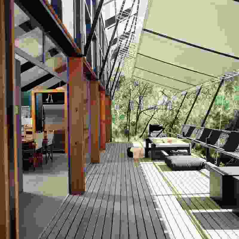 The verandah at Lake Weyba house.